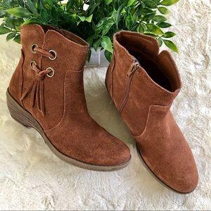 Baretaps brown suede Sasha fringe ankle boots 71/2